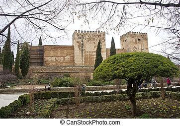 granada., château, alhambra., vieux, espagne