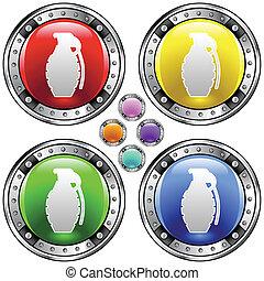 granada, coloridos, botão