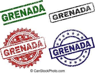 granada, danificado, textured, selos, selo