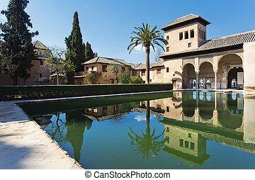 granada, de, partal, alhambra, paleis, palacio, partal, ...