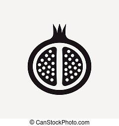 granada, fruits, icono