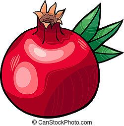 granada, fruta, caricatura, ilustración