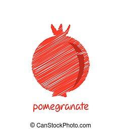 granada, fruta, diseño