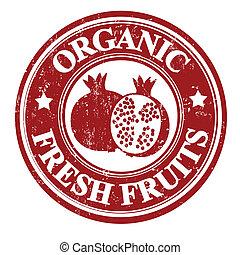granada, fruta, estampilla, o, etiqueta