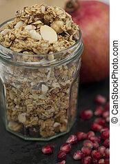 granada,  granola, tarro, semillas