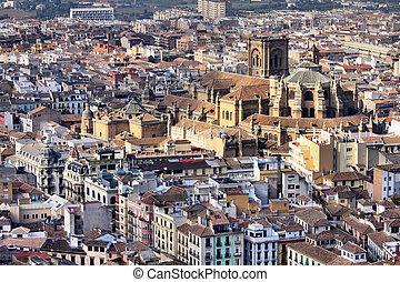 Granada in Andalusia region of Spain. Aerial view of...