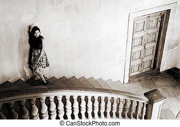 granada, moda, palácio, alhambra, charles, desenhista, v, modelo, vestido, espanha
