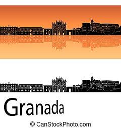 Granada skyline in orange background in editable vector file