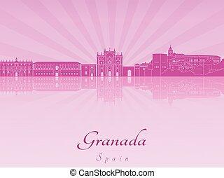 Granada skyline in purple radiant orchid in editable vector...