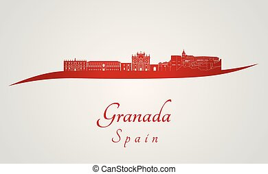 Granada skyline in red and gray background in editable...