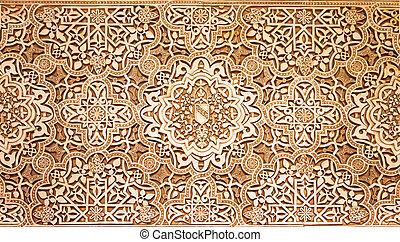 granada, slott, mönster, alhambra, struktur, arabiska, ...