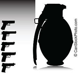 granada, y, arma de fuego, vector, siluetas