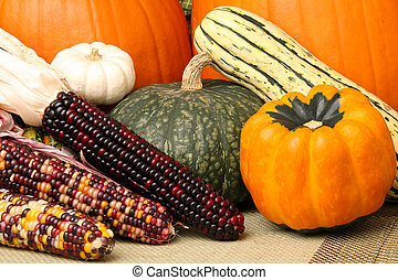 granaglie, colorito, scena, schiacciare, autunno, zucche