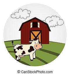 granaio, paesaggio, mucca, circolare