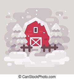 granaio rosso, costruzione, con, alberi abete, in, uno, nevoso, inverno, paesaggio., bianco, inverno, fondo, appartamento, illustrazione