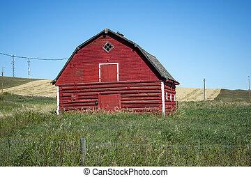 granaio, vecchio, erboso, terreno coltivato, rosso, prateria