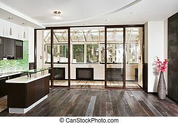 granangular, habitación, de madera, moderno, piso, cocina, (studio), interior oscuro, frente, balcón, dibujo, vista