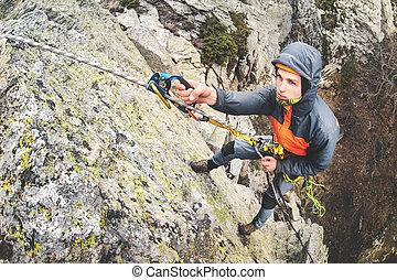 granangular, orientación, pared, joven, deportes, montañismo, horizontal, hombre, escarpado, montañas blancas, extremo