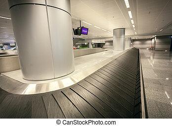 granangular, reclamo, equipaje, terminal, aeropuerto, tiro, vacío