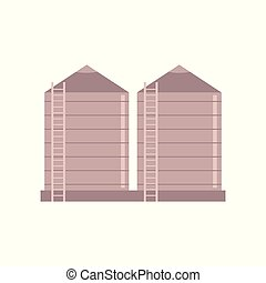 Granary farm construction - vector illustration of village...