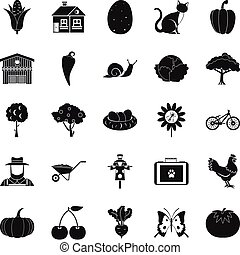 Granary icons set, simple style - Granary icons set. Simple...