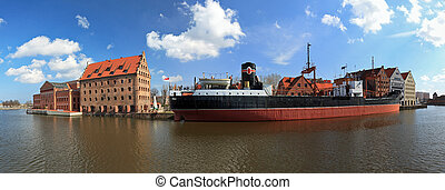 Panorama of the granary island in Gdansk, Poland.