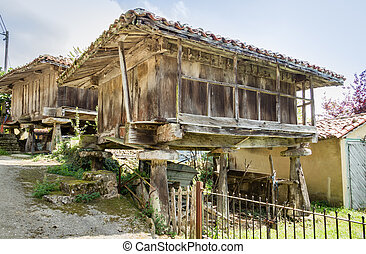 """View of typical granary of Asturias, in Spain, raised by stone pillars and known as """"horreo"""""""