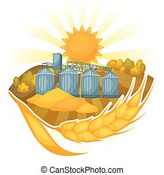 Granary on wheat field. Agricultural illustration farm rural...