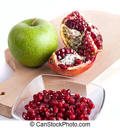 granatäpple, frö, och, grönt äpple, frisk mat