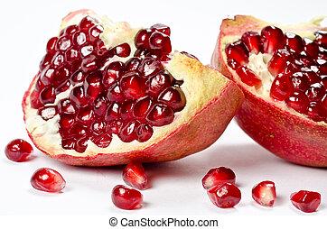 granatäpple, med, säder