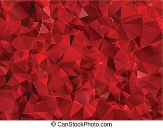 granat, abstrakcyjny, czerwone tło, wielobok