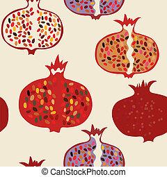 granatapfel, seamless, muster, lustiges, design