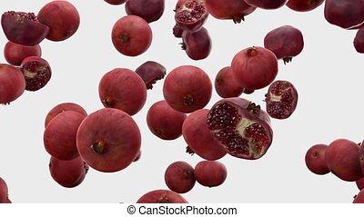 granatapfel, weißes, fallender , hintergrund