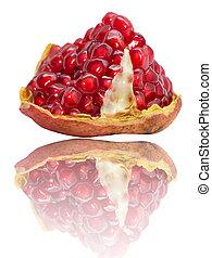 granatapfel, weißes, reflexion, hintergrund