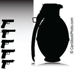 granate, und, gewehr, vektor, silhouetten