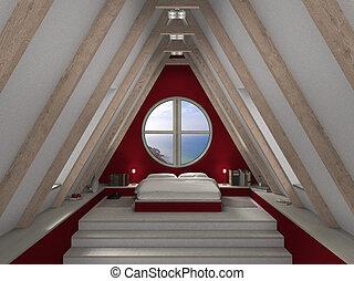 granate, y, blanco, ático, dormitorio