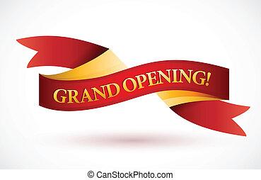 grand åbning, rød, vink, bånd banner
