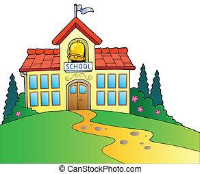 grand, école, bâtiment