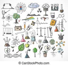 grand, école, ensemble, dos, doodles
