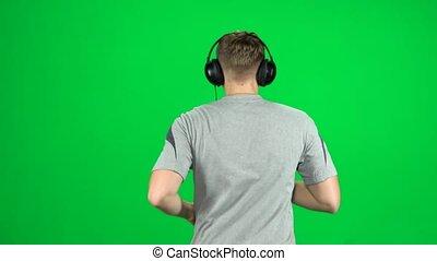 grand, écouteurs, dos, chroma, courant, vue, key., type