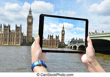 grand écran, ben, pc tablette