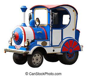 grand, électrique, jouet, locomotive, isolé