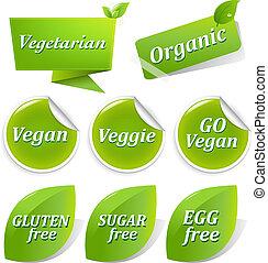 grand, étiquettes, ensemble, vegan