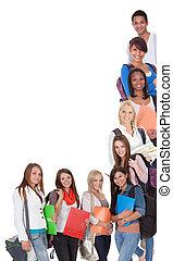 grand, étudiants, groupe, femme