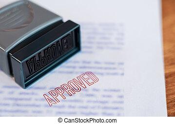 grand, a, affranchi, business, texte, concept., diagonal, été, timbre, caoutchouc, crédit, imprimé, document, approuvé, rouges