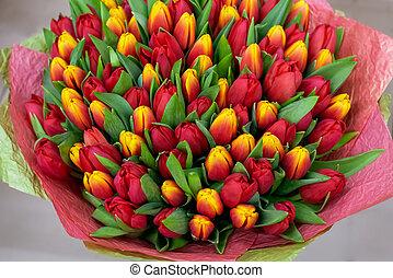 grand, above., rouges, tulips., bouquet, vue, clair