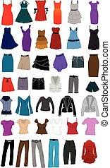 grand, acces, collection, vêtements