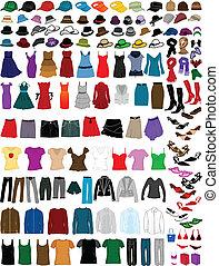 grand, accessoires, collection, vêtements