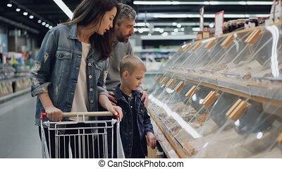 grand, achats, pointage, arrière-plan., nourriture,...
