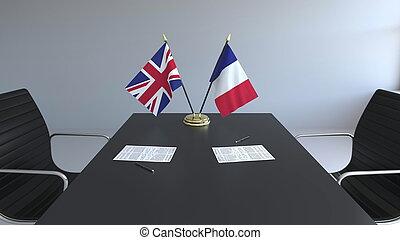 grand, agreement., signer, france, rendre, grande-bretagne, drapeaux, papiers, conceptuel, international, table., négociations, 3d
